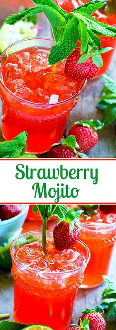 Strawberry Mojitos made from fresh strawberry simple syrup.