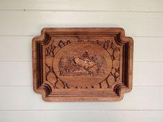 Elk Log Cabin Wood Sign, Elk Wall Hanging, Wood Carving Elk Scene Wall Art, Elk Decor, Cabin Decor, Hunting Decor, woodland nursery