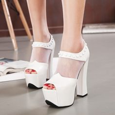 Thick High-heeled Shoes, Fish Head With Gauze Summer New Fashion Sexy Waterproof Platform Sandals on Luulla