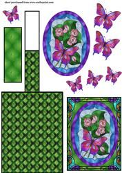 Green Stained Glass Floral Butterfly schildersezel Card