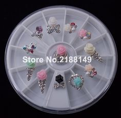 12PCS Glitter Alloy Nail Art Rhinestones Crystal Wheel Nail Decoration Design Tools HJ07