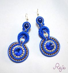 "soutache earrings ""Blue circles"" by Reje Entirely hand-sewn, handmade in Italy www.rejesoutache.com https://www.facebook.com/rejegioielliinsoutache  On sale: https://www.etsy.com/listing/221747780/soutache-earrings-blue-circles-swarovski?"