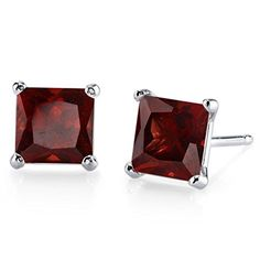 14 Karat White Gold Princess Cut 275 Carats Garnet Stud Earrings * Want to know more, click on the image.-It is an affiliate link to Amazon. #WeddingEarrings