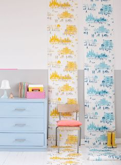 Love these Manhattan Wallpapers for a kids room on one wall.