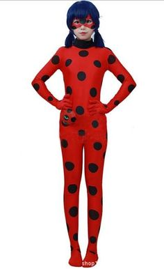 Ladybug Cosplay Marinette Tight Coverall Overall Costume + Goggles