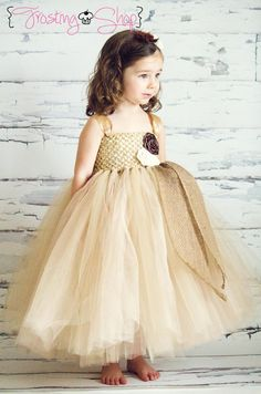 Champagne Rose Trio Burlap Tutu Dress- Vintage Wedding- You pick the colors