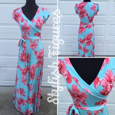 Maxi Dress. Mint and coral maxi dress with floral pattern. ⚓️ No PayPal. ⚓️ No trades. ⚓️ Price Firm unless bundled. Dresses Maxi