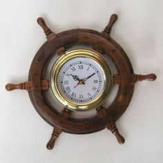 SHIP WHEEL CLOCK ,12""