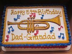 Trumpet Birthday Cake from Creative Memories, Hurst, Texas. Having cake from here tomorrow for honeys birthday dinner. Pretty Cakes, Beautiful Cakes, Amazing Cakes, Dad Birthday Cakes, Birthday Cakes For Women, Birthday Ideas, Creative Memories, Music Theme Birthday, Birthday Quotes