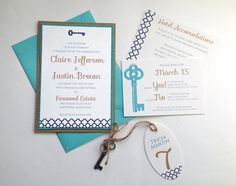 These charming vintage skeleton key invitations feature a blue and turquoise color scheme, and are layered on a matching turquoise burlap and natural kraft paper. Click to see more in my Etsy store!