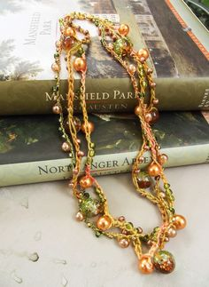 Three Strand Gossamer Tangles Signature Crochet Beaded Necklace - Orange Amber Green Brown Gold - One of a Kind by GossamerTangles on Etsy