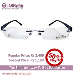 GLAREAFFAIR N-STAR N1107 BLUE EYEGLASSES http://www.glareaffair.com/eyeglasses/glareaffair-n-star-n1107-blue-eyeglasses.html  Brand : N-STAR  Regular Price: Rs2,400 Special Price: Rs1,199  Discount : Rs1,201 (50%)