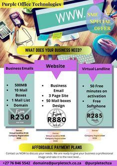 Start up, sme, Web design, virtual landlines, VoIP south Africa , Durban, Johannesburg, Randburg Business Emails, Online Business, Purple Office, Mail Email, Fibre, Entrepreneurship, Web Design, Technology, Activities