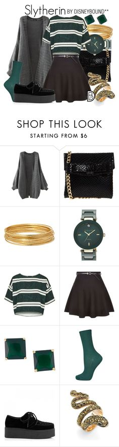 """""""Slytherin"""" by leslieakay ❤ liked on Polyvore featuring La Fille Des Fleurs, Bold Elements, Anne Klein, Topshop, Palm Beach Jewelry and harrypotter"""