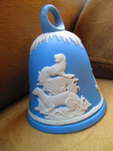 bradford blue white plastic bell ornaments   Christmas in July // Wedgewood // Light Blue Jasperware Bell // New ...