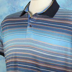 Robert Graham Mens 2XL Polo Shirt Aqua Blue Orange Stripes 100% Cotton Soft Cool #RobertGraham #PoloRugby