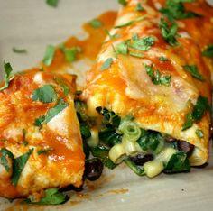 Black Bean, Spinach Echiladas - The Natural Suburban
