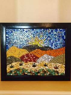Celebration of the beautiful southwestern desert was created with natural rocks and minerals, stained glass pieces, and mini ceramic pieces. ● Not grouted or sealed ● Black frame ● Ready to hang ● Dimensions are 23 X 19 Mosaic Tray, Mosaic Tile Art, Mosaic Pots, Mosaic Artwork, Mirror Mosaic, Mosaic Garden, Mosaic Crafts, Mosaic Projects, Mosaic Glass