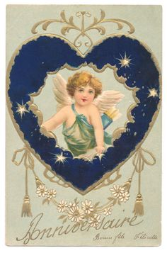 Ellen Clapsaddle - Angel in Dark Blue, Starry Heart Shape