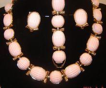 Vintage Trifari Pink Cabochon Necklace Bracelet Earring Set Book Ad $135.00