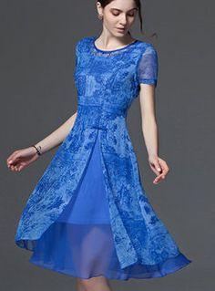 Chic Chiffon Print A-Line Dress