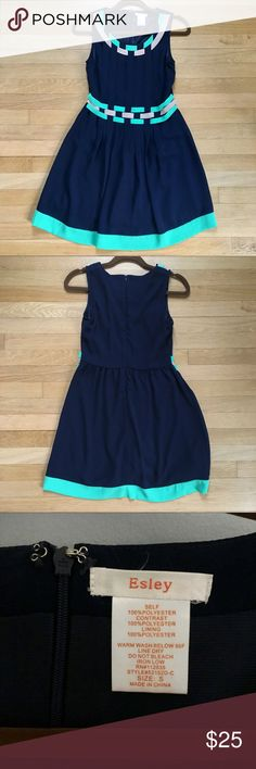 NWOT Esley navy blue dress Beautiful dress only worn once for a pageant. Zips in the back. High quality dress, completely lined. Esley Dresses Mini