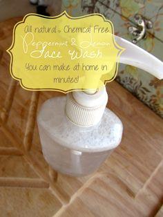 All natural, easy DIY peppermint & lemon face wash