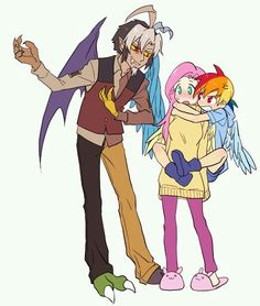 Fluttershy,Discord,and Rainbow Dash