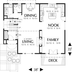 Craftsman Style House Plan - 3 Beds 2.5 Baths 2044 Sq/Ft Plan #48-114 Floor Plan - Main Floor Plan - Houseplans.com