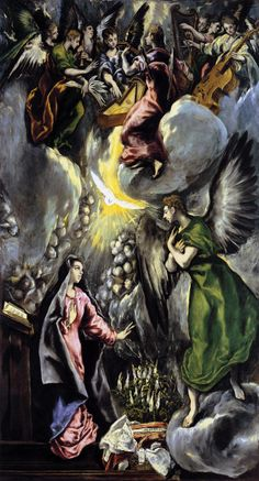 El Greco.  My favorite Annunciation painting.  It shows the Holy Spirit prominently, has the Burning Bush (ask me the connection), and I like El Greco.  It was a little too complicated for my Solemn Profession prayer card, but I almost used it until I found the stained glass window in Wisconsin.  Anywho - Happy Feast of the Annunciation!