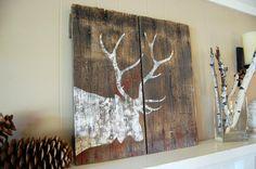 Weathered Elk Silhouette Barnwood Sign