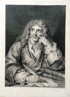 Portrait de Molière gravé par Lépicié d'après Charles Coypel - 1er état avant toutes lettres - MAS Estampes Anciennes - Antique Prints since 1898