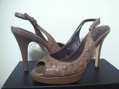 Cole Haan Air Stephanie Quilt Sling Greige Leather Women's Heels Pump Size 6.5 M