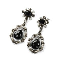 Royal Juliette Earrings by Sweet Romance: French fashion of the aristocracy inspired the wearing of jeweled earrings like this. Ours is set with cut crystal and seed pearls. A crystal briolette dangles below.