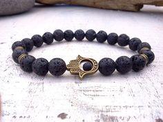 Hey, I found this really awesome Etsy listing at https://www.etsy.com/listing/165567173/men-bracelet-hamsa-lava-bracelet-hamsa