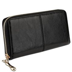 Yahoho Women's Long Zipper-Around Genuine Leather Wallet Clutch Wristlet Strap