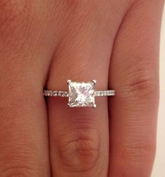 1CT PRINCESS CUT DIAMOND SOLITAIRE ENGAGEMENT RING 14K SOLID WHITE GOLD  #Hiya #SolitairewithAccents #Engagement