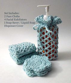 Eco Friendly, Multipurpose, Hand Crocheted Cotton Spa Set, Bath Set, Baby Shower, Gift Set, Baby Blue241