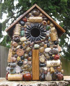 Garden Mosaic Birdhouse Large by WinestoneBirdhouses on Etsy
