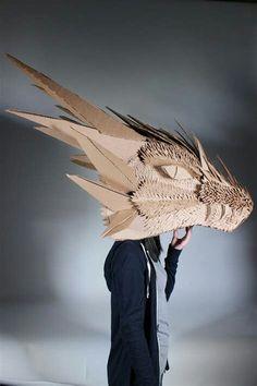 Cardboard Dragon Head by spiritualmist.dev… on Cardboard dragon head of spiritualmist. Cardboard Costume, Cardboard Mask, Cardboard Sculpture, Cardboard Crafts, Sculpture Art, Cardboard Animals, Dragon Puppet, Dragon Costume, Dragon Head
