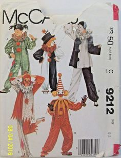 McCall's Sewing Pattern 9212 Boy Girl Sz 6-8 Clown Costume Vintage 1984 Cut