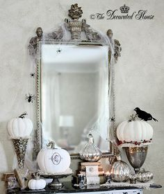 Halloween Black & White with Silver & Mercury Glass. by The Decorated House