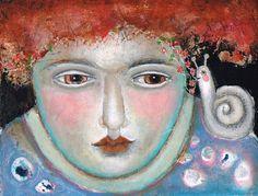 Mixed Media Painting Original Modern Folk Art   Expressive woman lovesong snail dream ethereal door kittyjujube op Etsy https://www.etsy.com/nl/listing/203017915/mixed-media-painting-original-modern