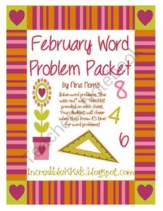 February Word Problem Packet - These word problems are uniquely created to ask your students to dig deep and explain their thought process.  It's your job to ask loads of questions and get students to share their answers.  We don't have to come up with our answers the same way but it is important to find the right answer.  Sharing the thought process allows students to explore different processes and find one that works for their style of learning.  KOA.A.1-5  Do 1 or 2 of these daily.  With…