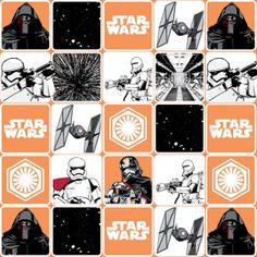 Star Wars™ The Force Awakens Storm Trooper quilting fabric. This black and white fabric has squares and features Kylo Ren, Captain Phasma and troopers! Star Wars Quilt, Star Wars Fabric, Star Wars Art, Starwars, Star Wars Classroom, Quilted Christmas Ornaments, Black And White Quilts, Disney Fabric, Tejido