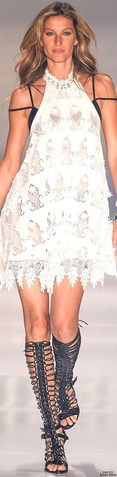 'Pretty white dress----sans les multitudinous spider-web straps and black bra.'  JT (always in my own words)  -----Colcci Spring 2016 RTW