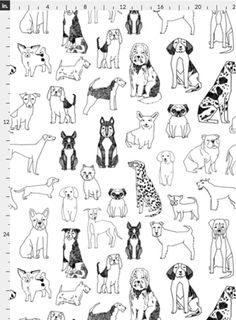 dogs // black and white hand drawn dog illustration cute dogs pet dogs fabric by andrea_lauren on Spoonflower - custom wallpaper Black And White Dog, White Dogs, Dog Illustration, Dog Pattern, Black And White Illustration, Dog Tattoos, Background S, Happy Dogs, Dog Art