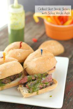 Grilled Skirt Steak Sliders with Salsa Verde Aioli | Boulder Locavore