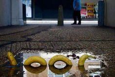 Banana Loch Ness Monster. Street art in Germany.