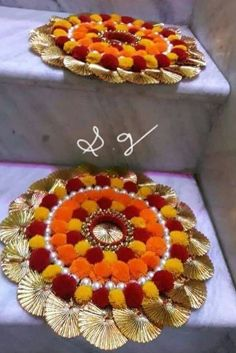 Trendy origami decoration home flower tutorial Ideas Arti Thali Decoration, Diwali Decoration Items, Thali Decoration Ideas, Ganapati Decoration, Origami Decoration, Handmade Decorations, Flower Decorations, Diwali Diya, Diwali Craft